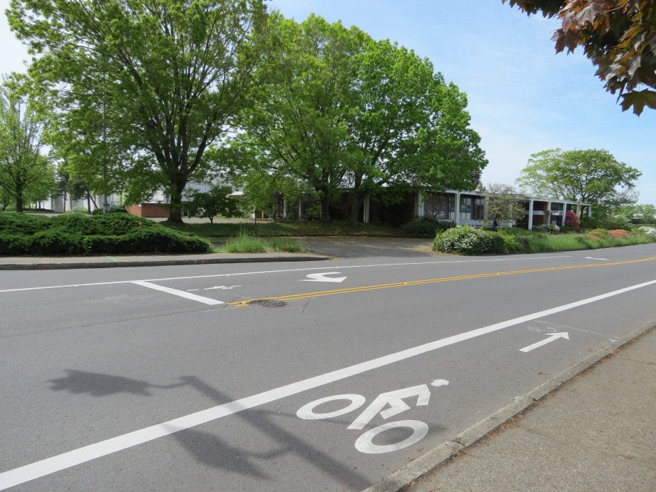 Bike lane at Western & 5th in Beaverton
