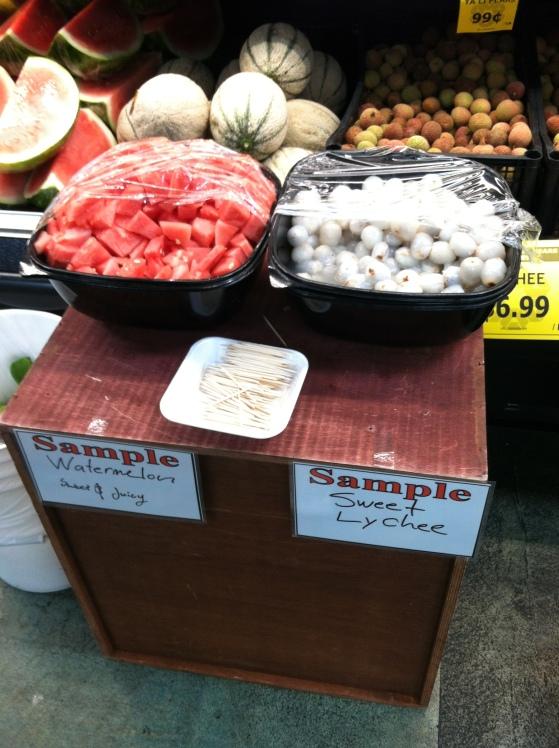 Lychee samples at Uwajimaya grocery store