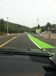 Freshly painted bike lanes in Orick, CA. © Naomi Fast 2018