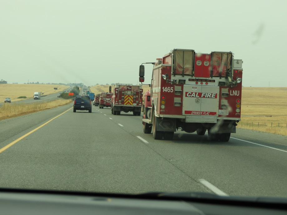 Line of fire trucks I-5 near Redding. © Naomi Fast 2018