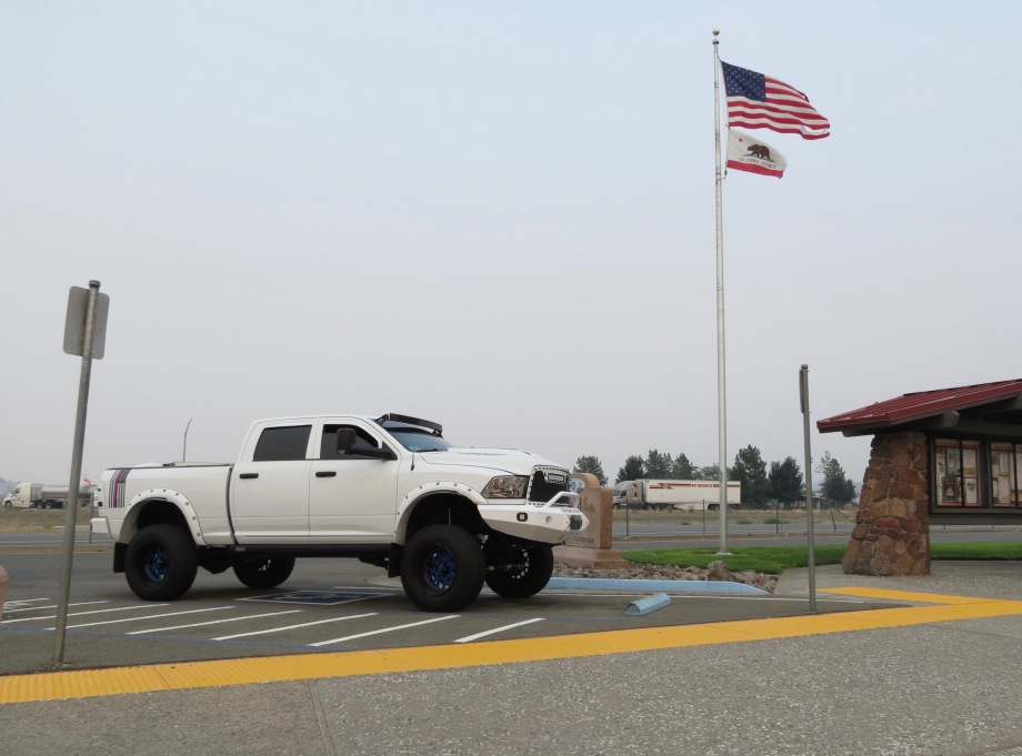 Huge pickup at a California rest stop.