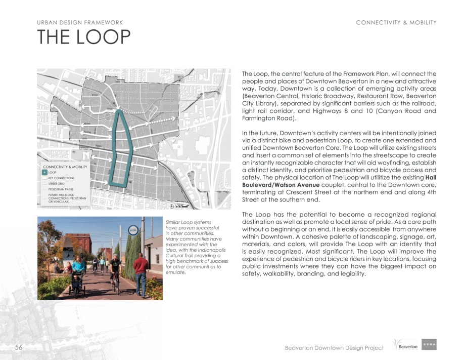 """Page 56 of the Downtown design showing """"the Loop"""" from 4th street to Crescent street"""