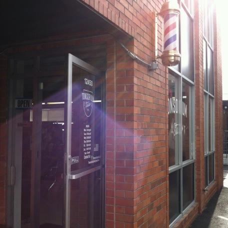 Barbershop in a brick building