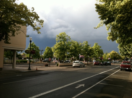 Beaverton street scene and stormy sky
