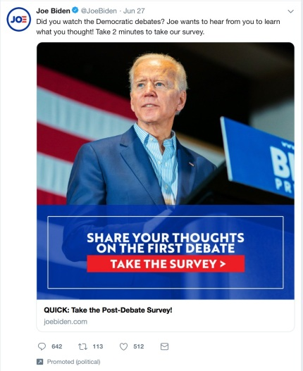 Clip from Twitter - promoted 'Take the Survey' tweet from Joe Biden campaign