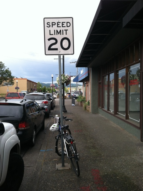 Bike parked on a 20MPH speed limit sign.