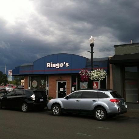 Ringo's bar in beaverton & storm sky.