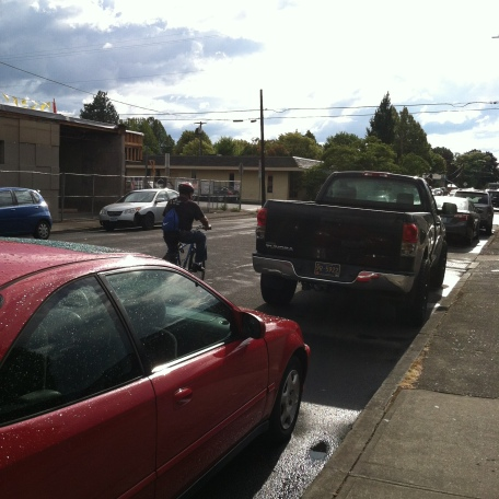 Person biking down the street