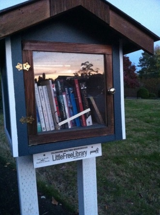 Little book house with glass door reflecting sunset