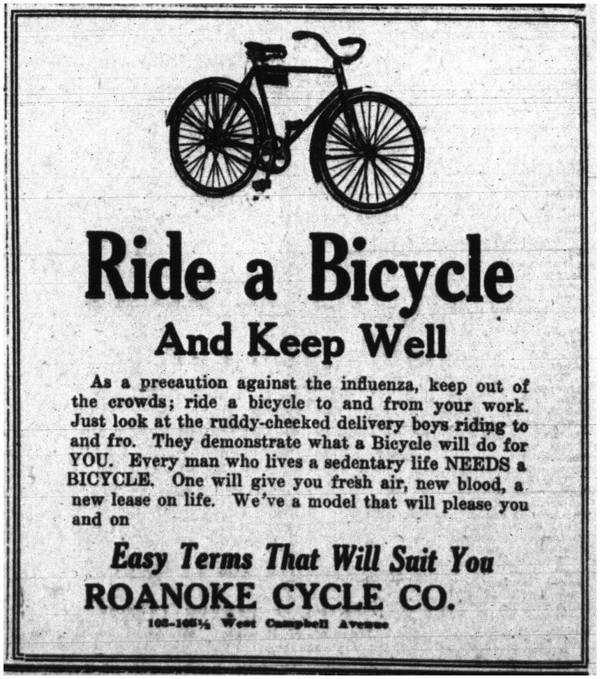 Black & white century-old advert for bicycles and well-being