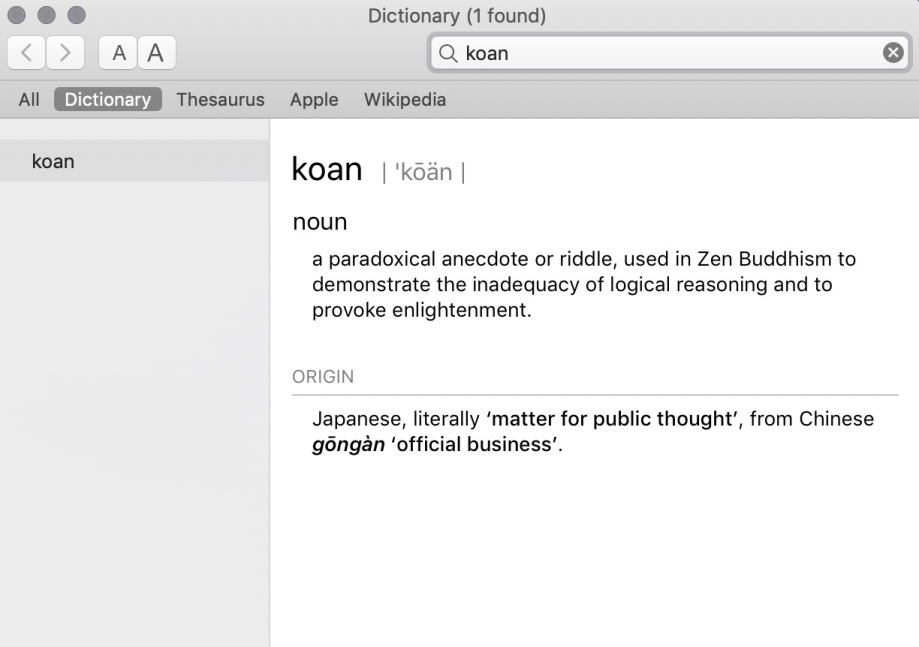 Clip from dictionary, definition of Koan